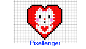 Cat Heart Valentine Pixel Art