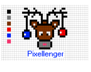 Christmas Deer and Balls Pixel Art