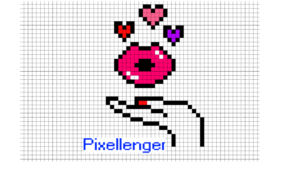 Kiss Lips Love Herts - Valentine Pixel Art How to Draw