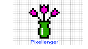 Vase and Flowers Pixel Art for Kids